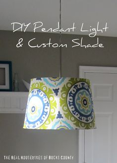 IKEA Hack:  DIY Pendant Light & Custom Shade using IKEA Januari light fixture, IKEA Jara shade, and Waverly Modern Essentials Solar Flair fabric in Lime & Indigo.