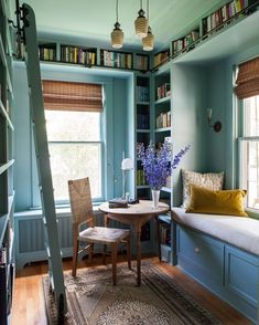 window seat library ideas to decorate your home and add comfort page 9 Yellow Couch, Home Libraries, Built Ins, My Dream Home, Interior And Exterior, Interior Architecture, Small Spaces, Living Spaces, Living Room
