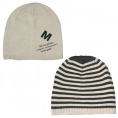 Men's Reversible Stripes and Solid Color Acrylic Beanie Hat