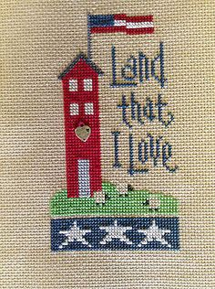 completed cross stitch Lizzie Kate Independence 4th of July