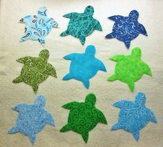 $10.95      Set of 9 Green Blue Sea Turtle  Iron-On  by MarsyesAppliques