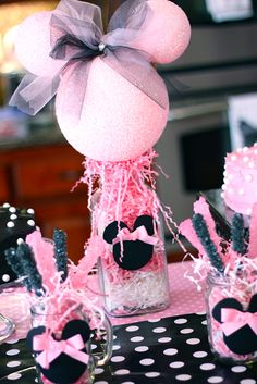 Minnie Mouse centerpieces were made of pink-tinted styrofoam balls, accented with tulle ribbons and rhinestones.