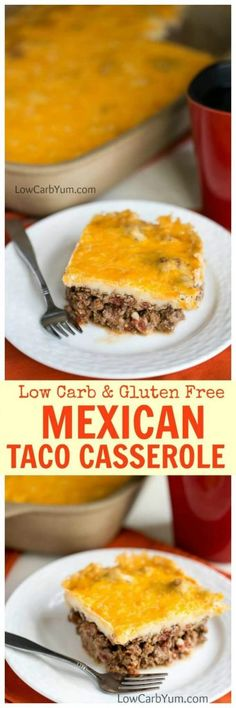 A unique low carb Mexican taco casserole bake that's sure to be a winner. It's got a spicy ground meat base topped with a cheesy mashed potato-like topping.   LowCarbYum.com