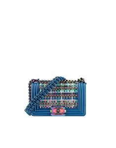 Small BOY CHANEL handbag, pvc thread, lambskin & iridescent metal-blue - CHANEL