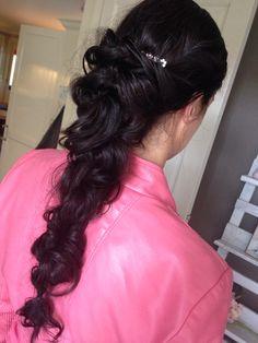 dark brown hair , twisted braid long hair.. i love it #brown #hair #long #hairstyle #wedding #casual #messy #cruls