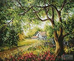 Summer Story - gezähltes Kreuzstichmuster im PDF-Format - Χειροτεχνία - Dessin Landscape Paintings, Beautiful Artwork, Painting, Cottage Art, Art, Summer Landscape, Pictures, Beautiful Landscapes, Scenery