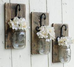 Set of 2 Hanging Mason Jar Sconce. , Set of 2 Hanging Mason Jar Sconce.Rustic Weathered Wall Sconces Set of 2 Hanging Mas.