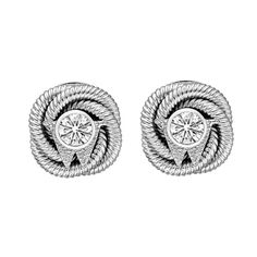 "Wellendorff Diamond White Gold ""Silk Knot"" Earstuds at 1stdibs"