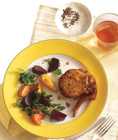 Pork Chops with Roasted Beets and Oranges