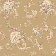 Blue and Brown Floral Scroll Wallpaper