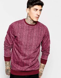 "Sweatshirt by Threadbare Soft-touch sweat All-over cable knit print Crew neck Fitted hem and cuffs Regular fit - true to size Machine wash 80% Cotton, 20% Polyester Our model wears a size Medium and is 185.5cm/6'2"" tall"