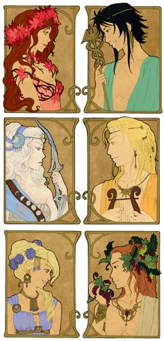 - Greek Gods II - by ooneithoo on DeviantArtKoré and Hermès (on the top) Artémis and Apollon  (on the middle) Hébé and Dionysos (on the bottom)