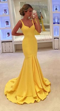 New Arrival Yellow Prom Dress,Mermaid Evening Dress,Long Evening Gown,Formal…