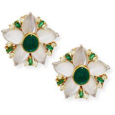 Lenox Emerald (456.315 UYU) ❤ liked on Polyvore featuring jewelry, earrings, emerald earrings, post back earring, lenox, lenox jewelry and 18 karat gold earrings