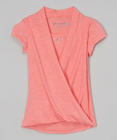 Look at this #zulilyfind! Coral Crossover Drape Top by Dreamstar #zulilyfinds $9.99
