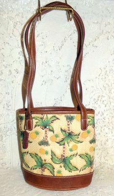 Liz Claiborne Small Shoulder Bag/Tote Tropical Pineapples Palm Trees  #LizClaiborne #ShoulderBag