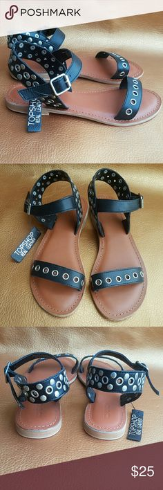 Topshop Studs Sandal NWOT Topshop Stud Flat Sandal ||| mix discs & grommet stud ||| Flat Quarter Trap ||| Adjustable Strap with buckle Closure ||| Leather Upper/ Leather & Synthetic Lining/Sole ||| Topshop Shoes Sandals