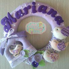 Guirlanda porta maternidade pássaros lilás