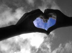 Hand heart held in sky ~ awesomeness!