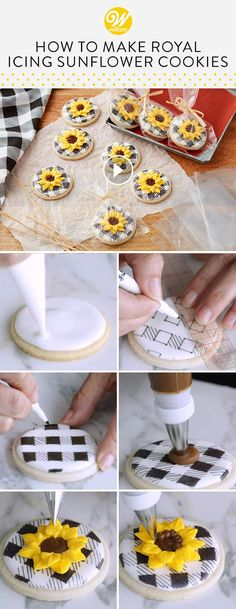 ices cookies Sunflowers are a lovely symbol of autumn, and these royal icing Sunflower Cookies are a Thanksgiving Cookies, Fall Cookies, Iced Cookies, Cupcake Cookies, Sugar Cookies, Christmas Cookies, Easy Royal Icing Recipe, Sugar Cookie Royal Icing, Decorated Cookies