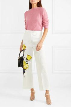from @NET-A-PORTER's closet #prada Kpop Fashion Outfits, Fashion Pants, Simple Outfits, Casual Outfits, Smart Casual Wardrobe, Looks Chic, Professional Outfits, Straight Leg Pants, Colorful Fashion