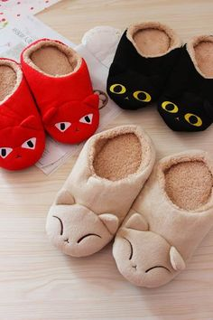Big eyes black cat household slippers, super cute cartoon fox squinting warm soft bottom cartoon plush home Mules-in Slippers from Shoes on ...