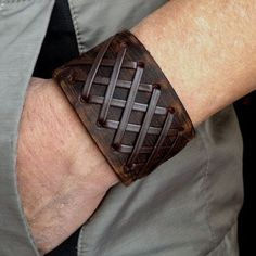 Antique Men's Brown Leather Cuff Bracelet, Leather Wrist Band Wristband Handcraf...