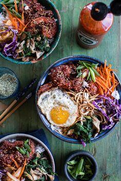 Korean Style Fried Shrimp Rice Bowls with Kimchi   Crunchy Noodles | halfbakedharvest.com @hbharvest