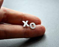 xo Earrings. Hug. Kiss. Valentine's. Love. Studs. Modern Contemporary Sterling Silver. Handmade by Epheriell on Etsy.. $57.00, via Etsy.