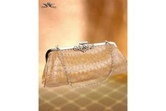 SHIPS FREE- NEW Taupe(Beige)CROCK-SKIN CLUTCH Bag W/SILVER CHAIN & RHINST ACCENT $24.99