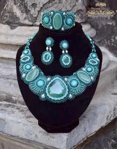 """Conjuntos de joyas artesanal de """"olor del mar.""""  Hecho a mano."""