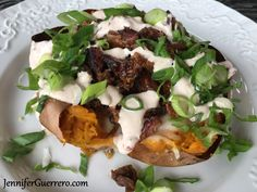Jen's Hot Mess. Salt crusted sweet potatoes, BBQ brisket or pulled pork, chipotle cream, cheese, and scallions. JenniferGuerrero.com Magnetic Spice Tins, Bbq Places, Easy Recipes, Easy Meals, Bbq Brisket, Paleo, Keto, Bbq Rub, Smoking Meat