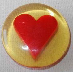 apple juice bakelite heart button