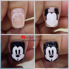 Pin by Schonheit on Nagellack in 2019 Nail Art Hacks, Nail Art Diy, Dope Nail Designs, Disney Acrylic Nails, Mickey Mouse Nails, Animal Nail Art, Nails Only, Dope Nails, Nail Manicure