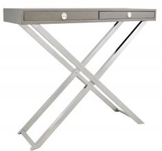 Grey Faux Leather Two Drawer Console Table