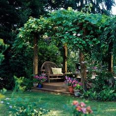 Backyard Landscaping Ideas Garden Structure Grapevine-smothered Pergola: Nothing dresses up a plain pergola faster than scrambling,