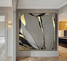 Abstract Painting Original Large Gold Leaf Painting Gray Painting Texture Art Abstract Acrylic Painting On Canvas Living Room Wall Art - Kunst - Etsy Acrylic Painting Canvas, Acrylic Art, Painting Art, Painting Flowers, Painting Tools, Texture Painting On Canvas, Large Painting, Hunting Painting, Painting Lessons