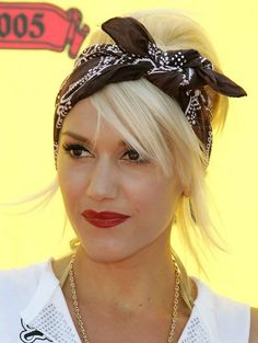 Gwen Stefani Long Hairstyle: Messy Updo with Side Part