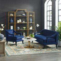 Rosdorf Park Wellow Living Room Set Performance Velvet Set Of 2 In Grey Upholstery Colour: Navy Living Room Accents, Living Room Sets, Living Spaces, Room Color Schemes, Room Colors, Chair Types, Contemporary Home Decor, Sofa Chair, Armchair