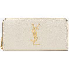 Monogram Saint Laurent Zip Around Wallet ($720) ❤ liked on Polyvore featuring bags, wallets, gold, zip bags, yves saint laurent, engraved wallets, zipper bag and monogrammed bags