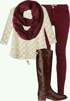 Burgundy jeans outfit