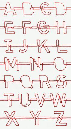 Daydreams & Nightschemes . alfabeto realizzato con un unico filo rosso