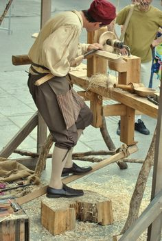 The unlimited power of foot and leg by Kebeca1690.deviantart.com on @deviantART - 18th century re-enactor in Montreal, Quebec, using a foot-powered lathe.