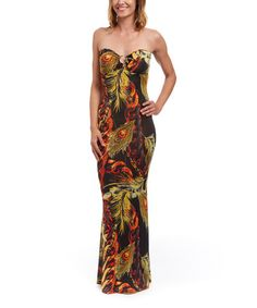 Look what I found on #zulily! Yellow & Red Feather Strapless Maxi Dress #zulilyfinds