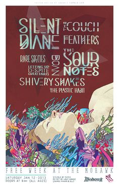 GigPosters.com - Silent Diane - Couch, The - Feathers - Sour Notes, The - Rare Species - Letting Up Despite Great Faults - Shivery Shakes - Boan - Plastic Habit, The