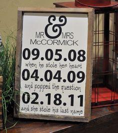 Custom Wedding Sign Personalized Engagement by wavynavy on Etsy