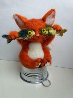 Crochet cat Needle Felted Cat, Needle Felting Kits, Needle Felted Animals, Felt Animals, Felt Bunny, Felt Cat, Chat Crochet, Crochet Cats, Crochet Animals