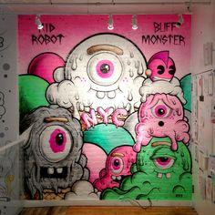 Kidrobot NYC | Buff Monster. #buffmonster http://www.widewalls.ch/artist/buff-monster/