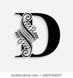 Calligraphy Name, Flower Alphabet, Alphabet Design, Letter D, Beautiful, Art Drawings, Stencils, Illustration Art, Typography