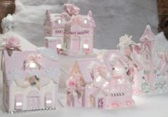 Shabby Chic Christmas Village Houses